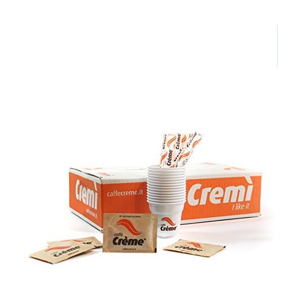 Set con 100 Bustine di zucchero canna + 100 Bicchierini + 100 palettine - Caffè Crème 1 spesavip