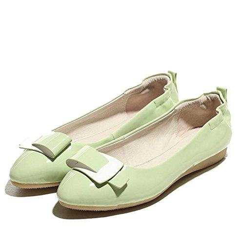 AgooLar Femme Couleur Unie Matière Souple Tire Pointu Chaussures à Plat Vert