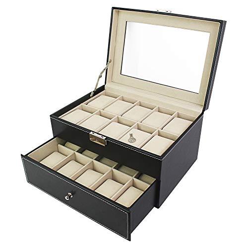 Todeco - Coffret à Montres, Boite pour Montres et Bracelets - Matériau de la boîte: MDF - Matériau du coussin: Velours - 20 montres avec vitre et tiroir, Noir/Beige