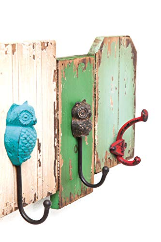Kare Owl, Bunte Wandgarderobe aus Holz, Mehrfarbig lackierte Garderobe mit 5 Haken, (H/B/T) 22,5 x 64 x 8 cm