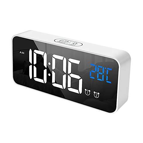 ChYoung Reloj Despertador Digital LED Carga USB Pantalla