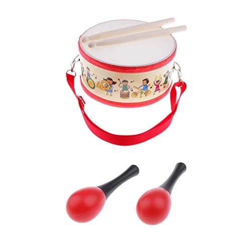 perfk Kinder Trommel mit Schlägel mit 1 Paar Hand Maraca Holz Shaker Rassel für Kinder Baby Rassel Musikinstrument Spielzeug