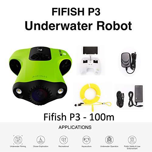 FIFISH Drone sous-Marin P3 caméra 4K UHD 20 mégapixels 100m de Profondeur Enregistrement vidéo...