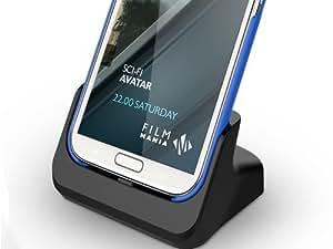 Dual Cover-Mate USB Dockingstation, Tischladestation, Tischlader, Ladeschale mit Akkuschacht und Audio-Out Buchse !!! für Samsung Galaxy Note 2 II GT-N7100 mit Micro USB Datenkabel Edle Eleganz PDA-Punkt