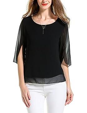 Angelady Women Chiffon T-shirt Blouse Scoop Neck 3/4 Sleeve Casual Top