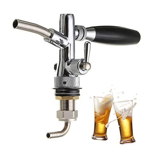 Neborn Edelstahl G5/8 Bier Wasserhahn Einstellbar 4 Zoll Fassbier Wasserhahn Schaft Mit Chrom Überzug Tippen Dispenser Homebrew barware - Bier Wasserhahn Chrom