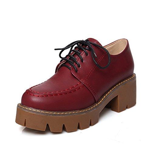 AllhqFashion Femme Rond à Talon Correct Couleur Unie Lacet Chaussures Légeres Rouge Vineux