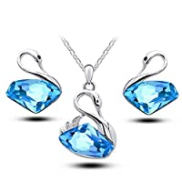 Classic Swan Pendant Blue Crystal Necklace & Earrings Set - Swarovski Elements Jewelry Set