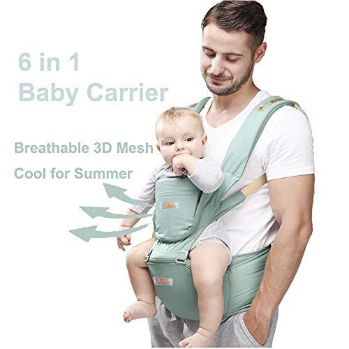 JooBebe 6 in 1 Babytrage Ergonomisch Bauchtrage Kindertrage Neugeboren mit Abnehmbarer Kapuze Atmungsaktiver Rucksackträger Vollständiger Schutz für 0 bis 36 Monate (Grün)