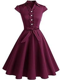 Wedtrend Robe Vintage 50's 60's Style Audrey Hepburn avec Boutons de cœur