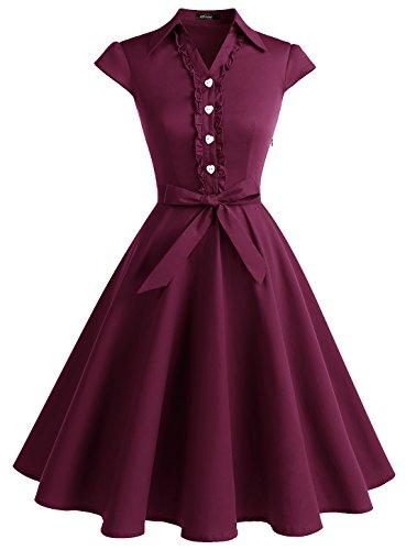 WedTrend Damen 50er Retro Herzform Knopf Rockabilly Kleid Kurzarm Swing Kleider mit Gürtel WTP10007 Burgundy S