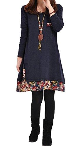3/4 Sleeve Wool Pullover (Minetom Damen Mode Strickkleid Langarm Rundhals Lose Beiläufige Pullover Kleid (Blau 34))