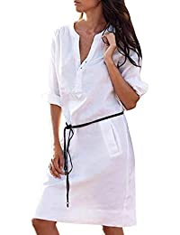 6e819861b0110 Tablier Une Jupe Robes, Honestyi Femmes Maxi Casual Demi-Manches Boutons  Coton Chanvre V