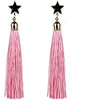 Pendientes Mujer Largos, Zolimx 8.5cm Largo Borla de Cinco Puntas Estrella Borla Pendientes (Rosa)