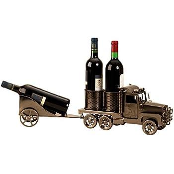 Flaschenhalter Truck für Wein Flaschen Flaschenständer aus Metall LKW Anhänger