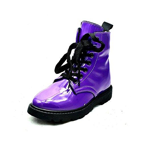 Filles brevet Violet cheville chunky bottes purple