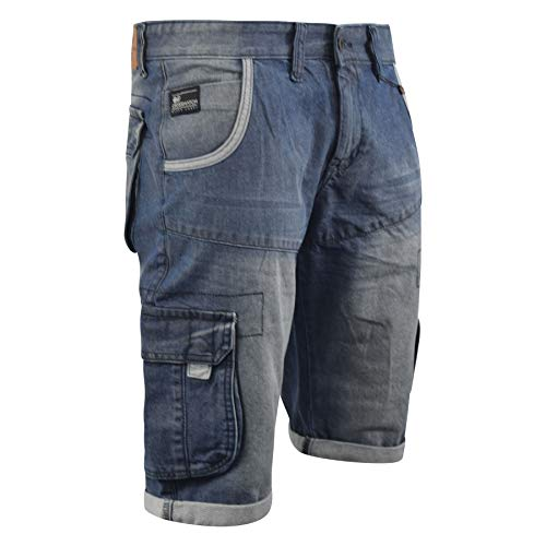 CrossHatch Mens Denim Short Combat Casual Cargo with Pockets(W32,MID WASH) -