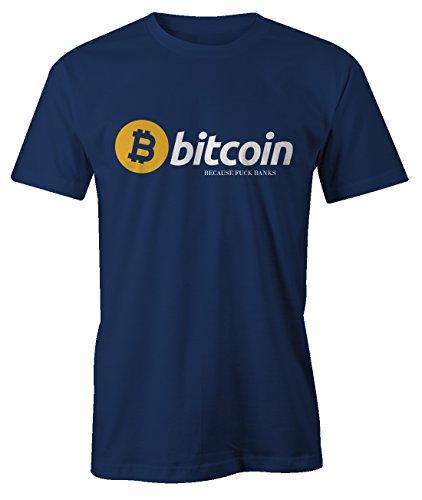RiotBunny Bitcoin Because F*CK Banks Cryptocurrency BTC LTC Digital Currency T-Shirt Camiseta Hombres Azul Marino XX-Large