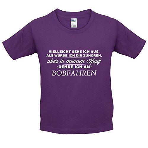 Vielleicht sehe ich aus als würde ich dir zuhören aber in meinem Kopf denke ich an Bobfahren - Kinder T-Shirt - Lila - XS (3-4 Jahre)