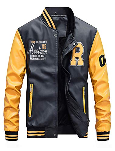 ROBO Baseball Jacke Herren PU Leder Sportjacke mit Samt Stehkragen Bomber College Classic Übegangsjacke (Weiß Herren Jacke Leder)