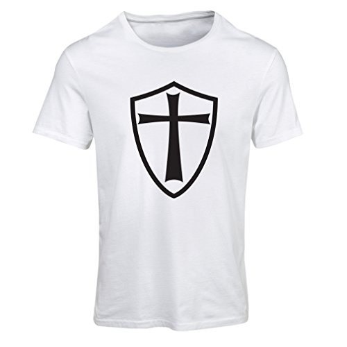 Frauen T-Shirt Ritter Templer - Die Templer Schild Christian Ritter Ordnung Weiß Schwarz