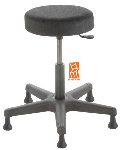 Arbeitshocker , Arzthocker, Drehhocker, Standhocker Modell comfort, Hubbereich ca. 46 - 59 cm, rutschfeste Bodengleiter, Sitzfarbe schwarz