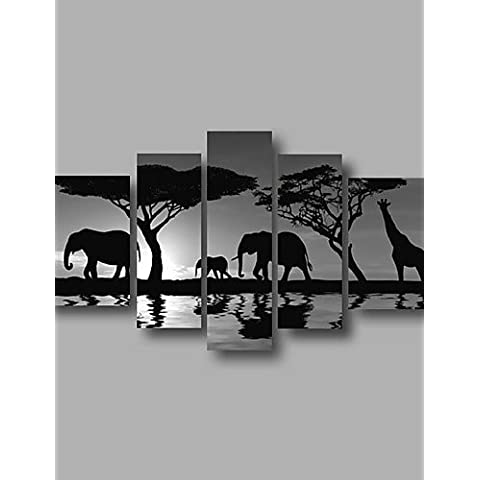 OFLADYH ® listo para colgar estirada enmarcada aceite de la pintura de la pared de la lona de arte del amanecer pintado a mano animales