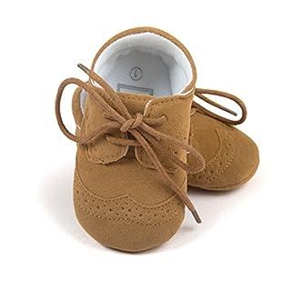 ESTAMICO Baby Jungen PU Schnürsenkel Lauflernschuhe Braun 0-6 Monate