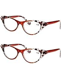 Aiweijia Gafas de lectura de ojo de gato Moda Unisex Lente de resina 2 pack  Gafas a0bda9690b9