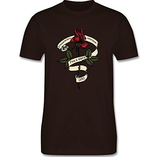 JGA Junggesellenabschied - Junggesellenabschied 2017 Rockabilly Rose - Herren Premium T-Shirt Braun