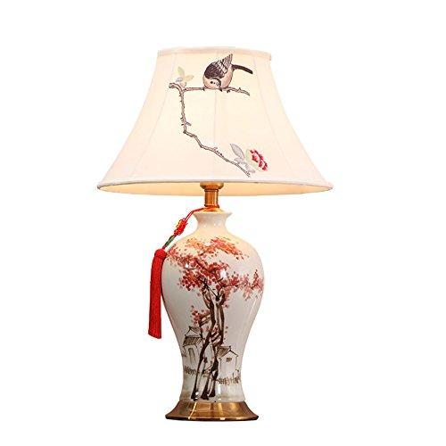WSTD- Keramik Tischlampe, Retro Schlafzimmer Nachttischlampe Studie Blumen und Vögel Tischlampe Dekoration Tischlampe Tischlampe Einzelner Kopf E27, 68 * 43CM Netzschalterknopf (größe : 43 * 68cm) -