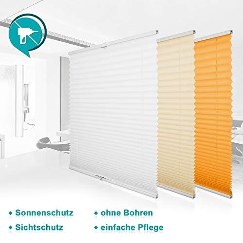 Homland Jalousie Plisseerollo ohne Bohren Plissee Klemmfix Faltrollo Easyfix für Fenster und Tür Weiß 35x130cm (BxH),...