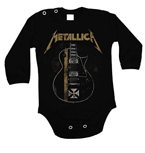 Baby Rocker Kleidung (Lulchev Design Metallica Guitar Hetfield Iron Cross Baby Body Prime Quality Langarm (Schwarz, 62))