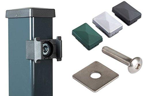 gr/ün pulverbeschichtetem Stahl zum Verbinden von Doppelstabmatten mit Einer Drahtst/ärke von 8//6//8 mm ohne Zaun-Pfosten. 5 x Mattenverbinder//Eckverbinder aus verzinktem RAL 6005