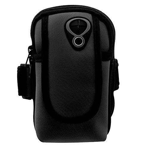 Neopren Sport Running Gym Reißverschluss Armband Fall Beutel für iPhone 8Plus/iPhone X/Samsung Galaxy Note 8/S9/S9Plus/J7Prime 2/Galaxy A6/J6/LG G7/LG V30/LG K30/OnePlus 6, Schwarz