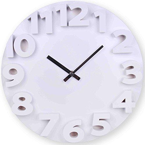 Wanduhr 3D in weiß 50 cm Quarz Designer Küchenuhr Uhr mit 3D-Zahlen