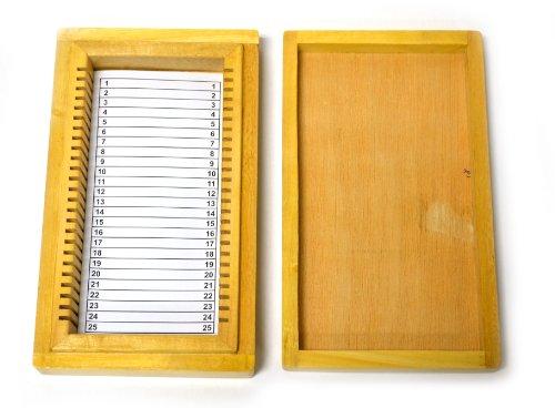 Eisco Labs Aufbewahrungsbox aus Holz, 25 Schlitze, für 25 x 75 mm Dias