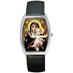 Classic Madonna and Baby Jesus on a Womens Barrel Watch with Leather Band