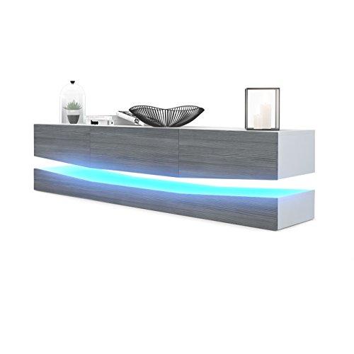 Meuble TV Armoire basse City, Corps en Blanc mat / Façades en Avola-Anthracite avec l'éclairage LED