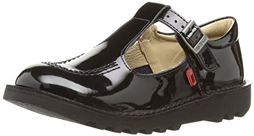 Kickers Girls' Kick Patent T-Bar Shoes - Black/Black, 13 UK Child (32...