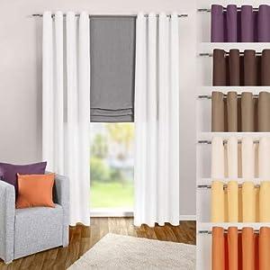 heimtexland ® Ösenschal Vorhang in weiß uni blickdicht aber lichtdurchlässig HxB 245x140 cm - Dekoschal Microfaser mit wunderschön leichtem Fall - Gardine Typ117