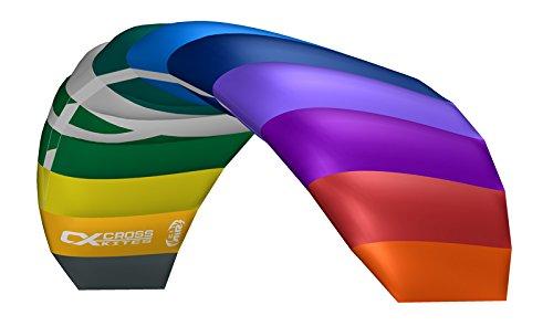 Crosskites Lenkmatte Lenkdrachen Air 2.1 Rainbow mit Leinen und Lenkschlaufen R2F 2 Leiner Matte Kite Stranddrachen für ambitionierte Kiter 210 cm Spannweite