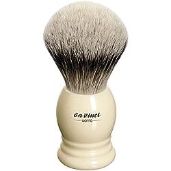 Pennello da barba con punte argentate di pelo di tasso, Ø20mm, manico a forma di vaso con decoro anelli