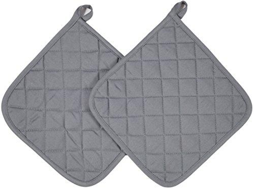 Zollner 2er Set Topflappen Untersetzer aus Baumwolle, ca. 24x24 cm, grau (weitere verfügbar)
