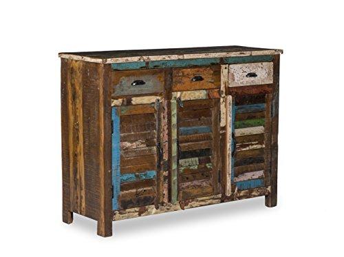 Woodkings Sideboard Wakefield 3tür, recyceltes Massivholz antik, Anrichte vintage, Design Kommode 3...