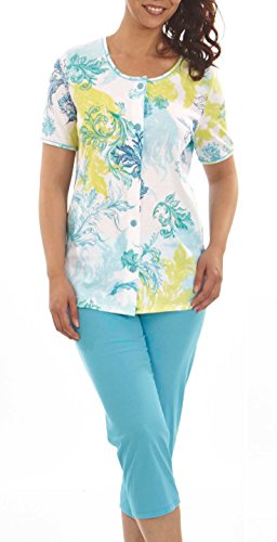 Graziella Pyjama Celina 7/8 Hose Oberteil mit Knöpfe 60/62 Nachtwäsche 100% Baumwolle Schlafanzug auch in Big Size (Gewand Kariertes Blau)