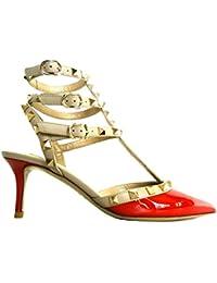 VALENTINO GARAVANI - Zapatos de Vestir para Mujer Rojo Rosso + Beige + Oro 26663581ee56