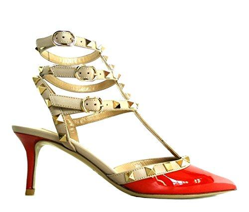 Valentino Garavani Damen Pumps Rot Rosso + Beige + Oro, Rot - Rosso + Beige + Oro - Größe: 38