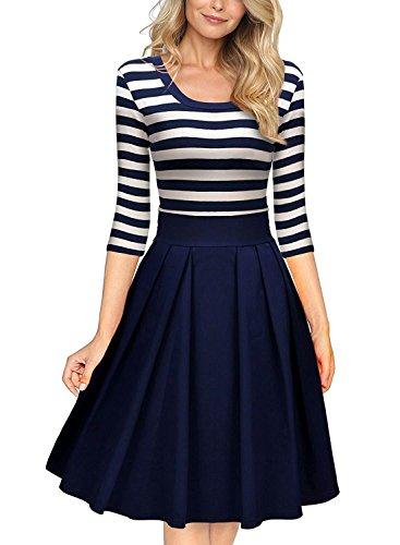 Damen 1950er Retro Kleid Streifen Rund Ausschnitt 3/4 Arm Schwingen Pinup Rockabilly Vintage Aendkleid (36/S, Blau)