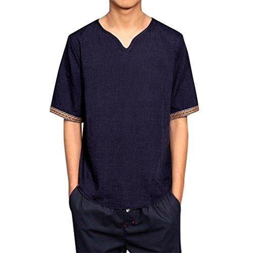 SEWORLD 2018 Herren Mode Sommer Herbst Herren Traditional Leinen Shirts Casual Kurzarm V-Ausschnitt Tops Lose Bluse(Marine,EU-42/CN-XL)